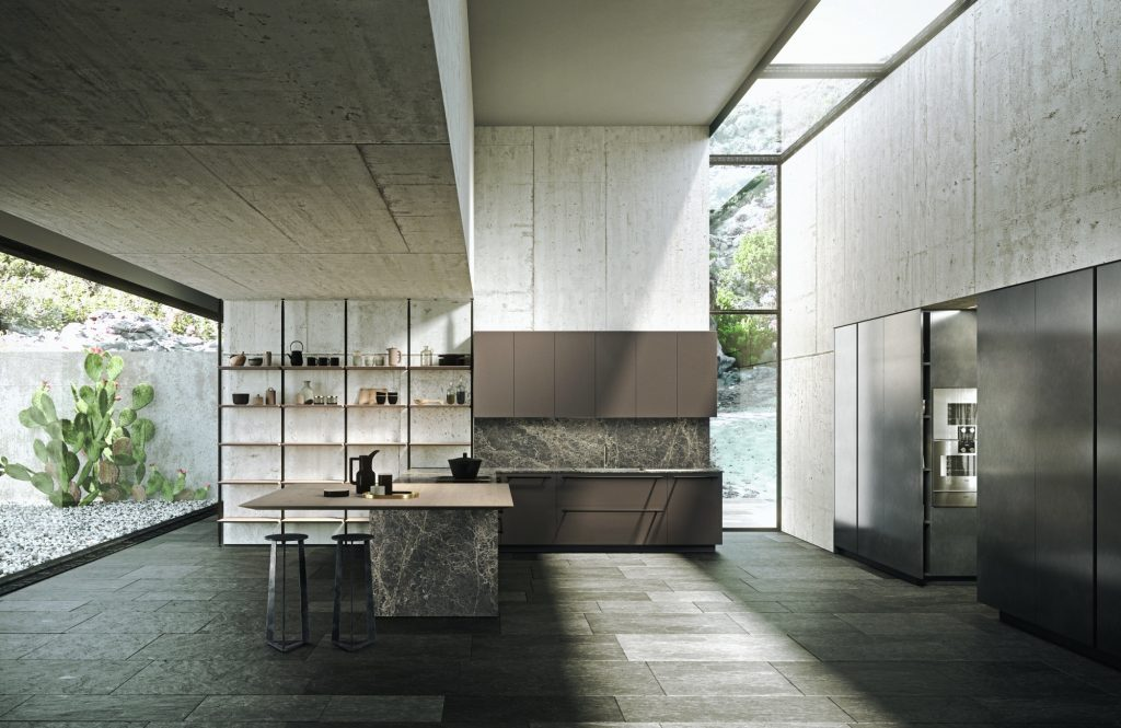 Open System creare living aperti su cucine a vista con elementi verticali