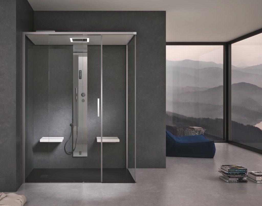 cabina gemini con colonna doccia g-steam top wellness domestico