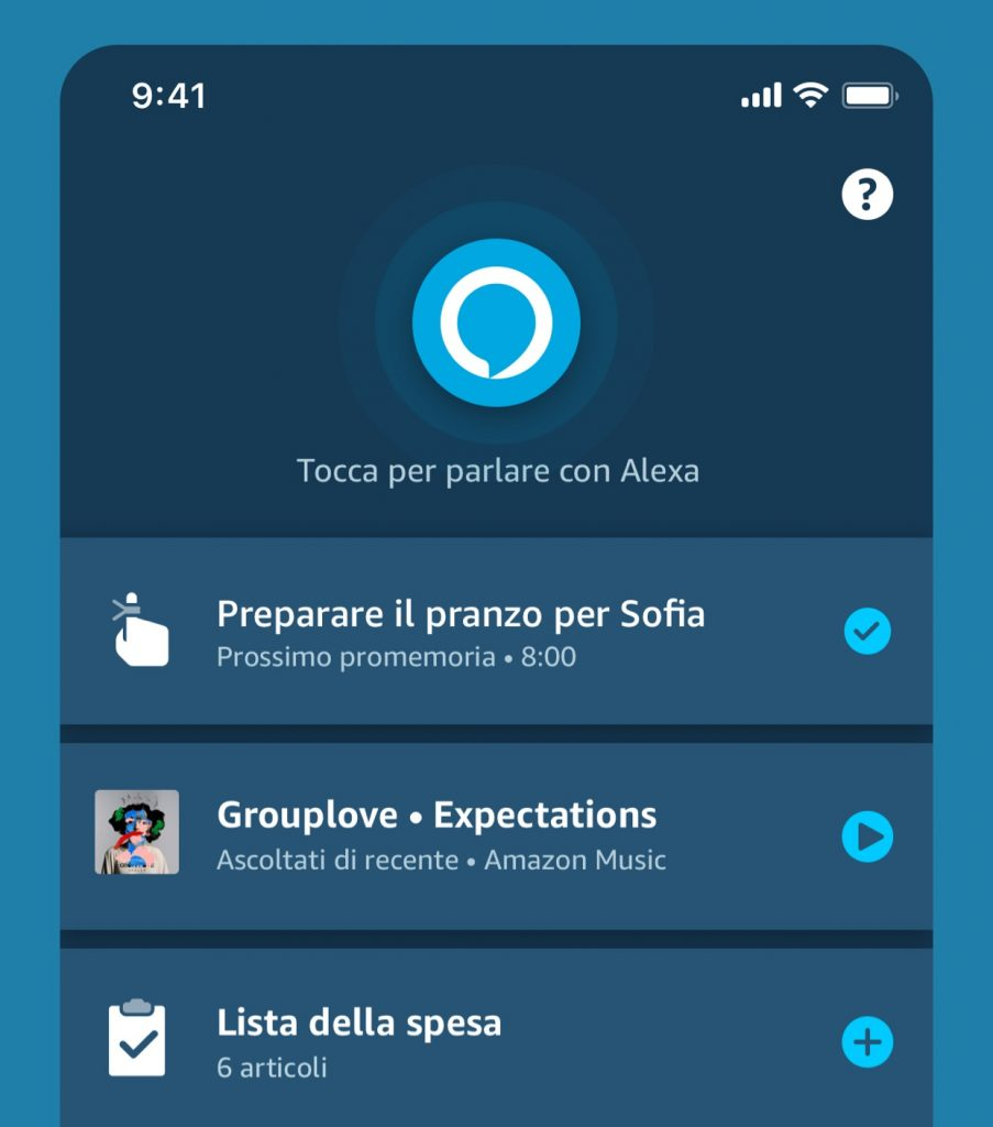 Nuova schermata personalizzabile per la App Alexa