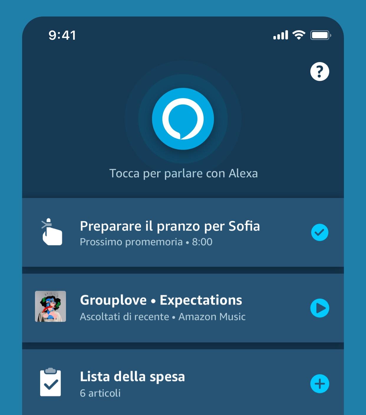 Nuova schermata App Alexa