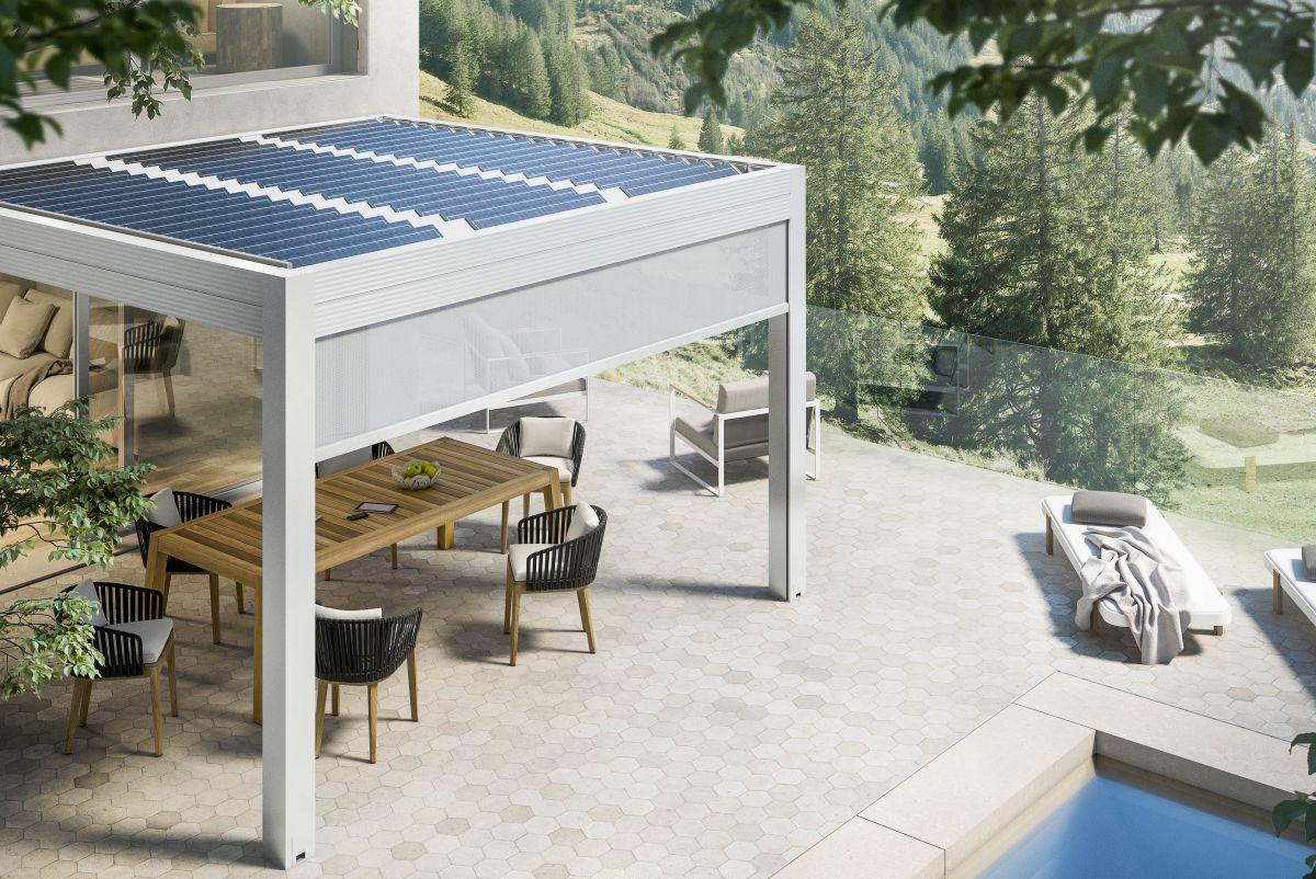L'outdoor diventa eco-friendly con la pergola bioclimatica fotovoltaica Gibus