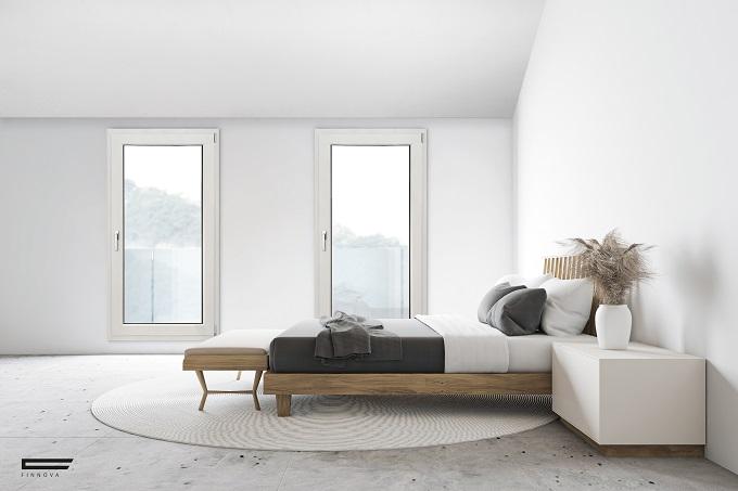 Serramenti in legno alluminio Finnova nella tonalità bianco