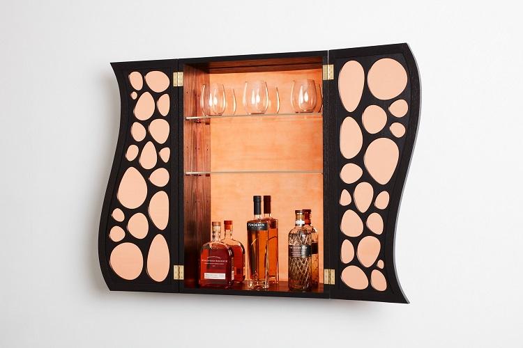 Armadietto per i liquori in quercia rossa americana