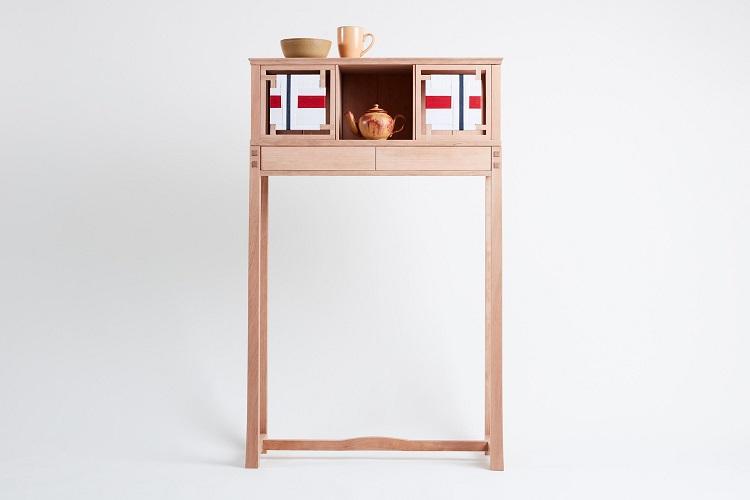 Mobile da tè in legno di ciliegio
